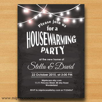 chalkboard Housewarming Invitation New house home sweet home Invitation Card | We have moved Invitation Card Design - card 554