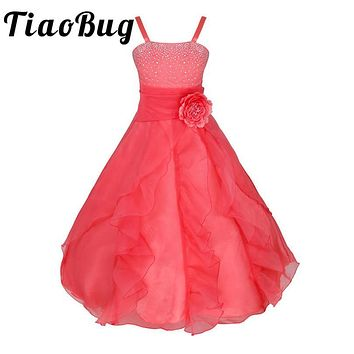 Kids Girls Embroidered Flower Bow Formal Party Ball Gown Prom Princess Bridesmaid Wedding Children Tutu Dress Size 2-14Y