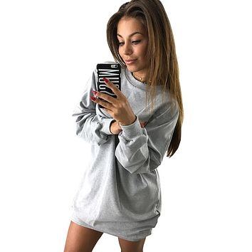 Women Long Hoodies Sweatshirts 2018 Autumn Casual Solid O-Neck Loose Oversized Hoodie Dress Lady Long Sleeve Hoodies Sweatshirts
