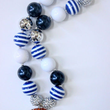 Dallas Cowboys Girls chunky bubblegum necklace football necklace navy blue white silver necklace girls chunky necklace cheerleading necklace