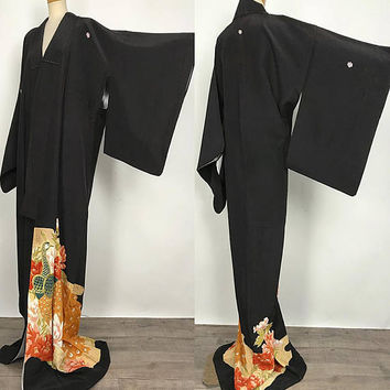 Elegant K012702 Japanese Yuzen Kuro Tomesode Synthetic Fabric Kimono Vintage
