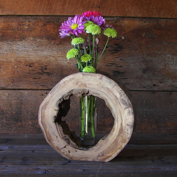 Rustic Hollow Log Vase Drift Wood Home Décor Accent Centerpiece Aroma Diffuser