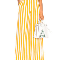 Maison Margiela Belted Striped Wide Leg Pants in White & Yellow | FWRD