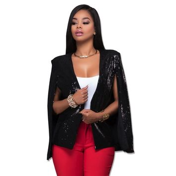 Elegant Fashion Black Sequined Cloak Cape Blazer Women Coat Split Long Sleeve Casual Suit Jacket Sexy Formal Work Wear 2017