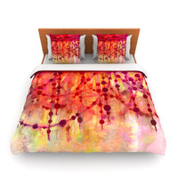 "Ebi Emporium ""Prismacolor Pearls"" Pink Orange Fleece Duvet Cover"