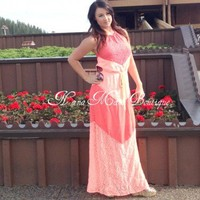 Gorgeous Neon Coral Lace Chevron Maxi Dress