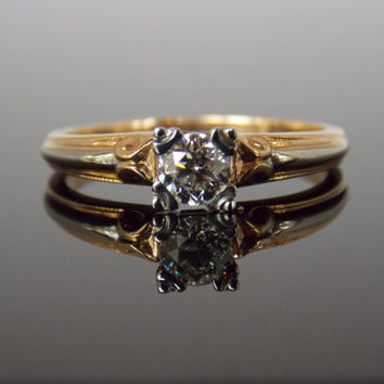 1940s Illusion Head Prong Two Tone White and Yellow Gold Solitaire Engagement Ring RGDI987N