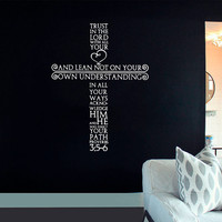 Wall Decal Vinyl Sticker Decals Art Decor Design Cross Jesus Christ God Psalm Pray Religion Prayer Quote Bible Sign Bedroom Dorm (r636)