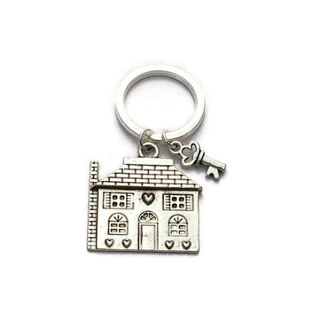 House And Key Keychain, House Warming Gift, New Home Token, New House Keyring, Congratulations On New House, Realtor Estate Agent Gifts