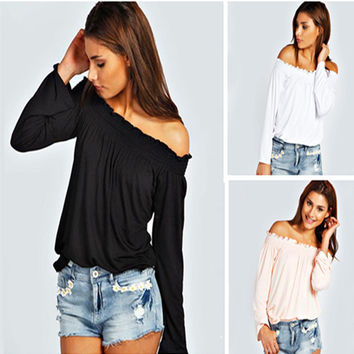 Sexy Off-shoulder Long Sleeves Casual Pure Color Blouse