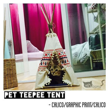Pet Teepee Tent - Calico/Graphic print/Calico No.1