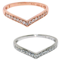 Eternally Haute Sterling Silver Pave Princess Tiara Ring   Overstock.com Shopping - The Best Deals on Cubic Zirconia Rings