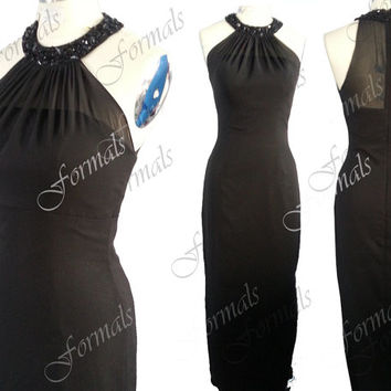 Meramid O Neck Long Black Chiffon Evening Dresses, Black Evening Gown, Formal Gown, Black Prom Dresses