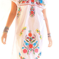 Nubes colorful off shoulder Mexican embroidered dress