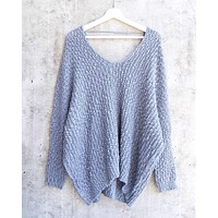 popcorn yarn textured v-neck knit sweater pullover - misty blue