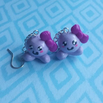 Octopus, Earring, Ocean, Water, Purple, Bow, Clay, Adorable, Kawaii, Jewelry, Girl, Animal, Pets,