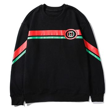 GUCCI 2019 new red and green striped letter print pullover sweater Black