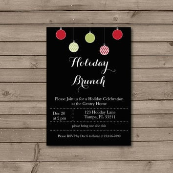 Christmas Ornament Holiday Brunch Invitations