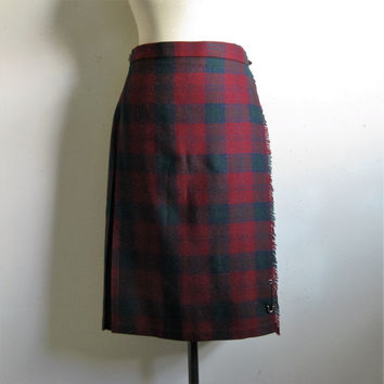 Vintage 1980s Wrap Kilt Burgundy Navy Blue Plaid Scottish Tartan Wool Blend Midi Skirt 14