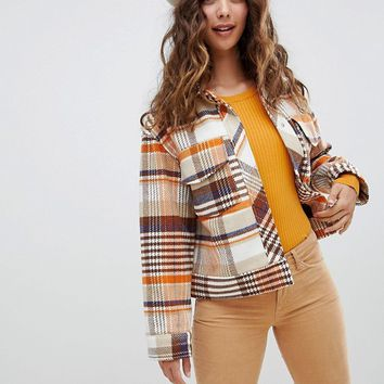 Monki trucker jacket in brown check print at asos.com