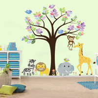 Children Wall Decal Safari tree decal Jungle Animals Decal Giraffe Lion Elephant Zebra Monkey Nursery Kids Playroom Vinyl Wall Sticker Baby