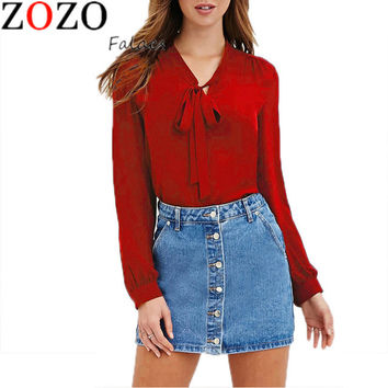 New Summer Autumn Women Fashion Casual Blouses Shirts Chiffon Full Sleeve Bow Solid V-Neck Blouse