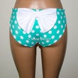 Mint and White Polka Dot Hips Bow Bikini Bottom, Full Coverage Bikini Bottoms, Fully Lined Spandex Swim Suit Bottom