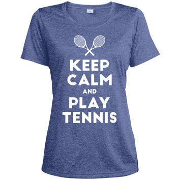 Keep Calm and Play Tennis T-Shirt-01  LST360 Sport-Tek Ladies' Heather Dri-Fit Moisture-Wicking T-Shirt