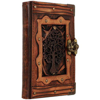 Tree of Life Pendant On A Brown Refillable Leather Journal / Notebook / Diary / Sketchbook