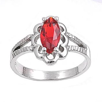 Sterling Silver Marquise Flower Filigree CZ Ruby 11MM CZ Petite Rings