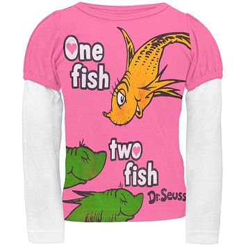 Dr. Seuss - One Fish Two Fish Pink Toddler 2Fer Long Sleeve T-Shirt