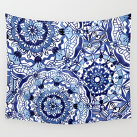 Delft Blue Mandalas Wall Tapestry by noondaydesign
