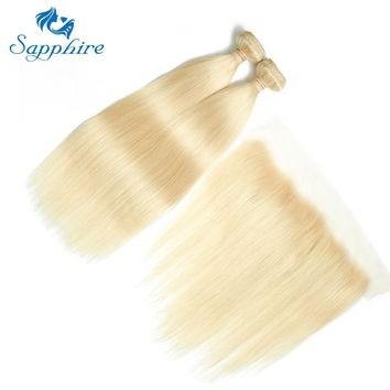 Sapphire Remy Hair Peruvian Straight 2/3 Bundles With 13*4 Lace Frontal Closure 100% Human Hair Weaving 613 Blonde Remy Hair