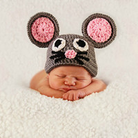 Crochet Mouse Hat Animal Hats Photography Props Gray and Pink Cute Baby Hats