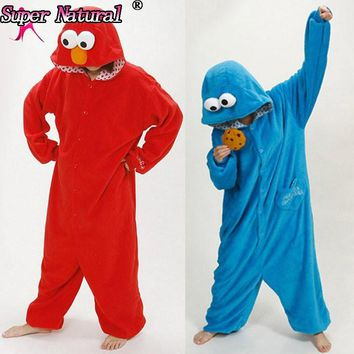 HKSNG Adult Unisex Winter Cartoon Blue Pink Elmo Sesame Cookie Footed Pajamas Cheap Onesuit Cosplay Costumes