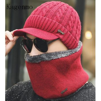 Kagenmo Autumn And Winter Men Cap Scarf Fashion Keep Warm Male Twinset Hat Scarf Autumn Outdoor Windproof Hat Thermal Wool Knit