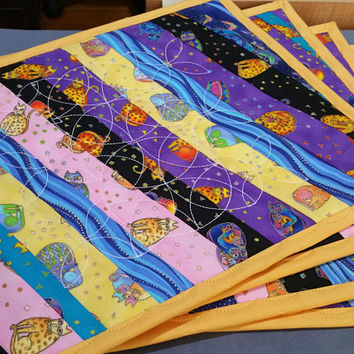 Laurel Burch Place Mats Felines NOP - Table Place Mats - Dinner Mats - Place Mats - Quilted Laurel Burch Place Mats - Cotton Place Mats
