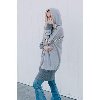 Koda Hooded Terry Dress - Heather Gray