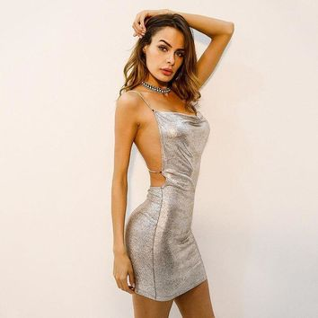 ESBONS Fashion Bronzing Shiny Backless Hollow Diamond Metal Chain Strap Sleeveless Low Chest Bodycon Mini Dress