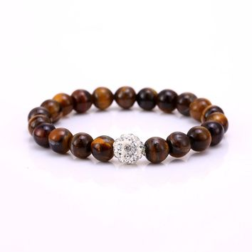 Tiger Eye Love Bead Bracelets & Bangles Trendy Natural Stone Bracelet For Women Famous Brand Men Jewelry 2016 New Pulseras