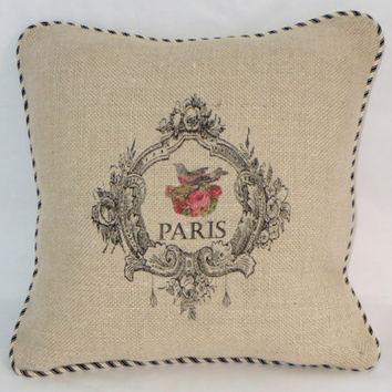 """French Burlap Pillow 16"""" Square with Black and Ivory Ticking Stripe Welting Ornate Frame w/ Paris Bird Ready Ship Cover and Insert OOAK"""
