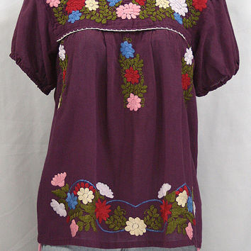 "Mexican Peasant Blouse Top Hand Embroidered: ""La Margarita"" Plum Purple with Colorful Floral Embroidery"