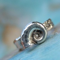 Beach Jewelry, Seashell Ring, Memories of the Sea, Pretty Fine Silver Spirula Squid Shell Ring, Custom Sizes 4 5 6 7 8 9 10 11 12 13 14