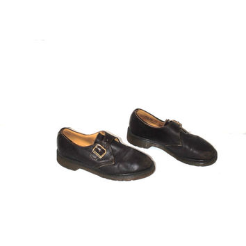 Dr Marten buckle shoes 1980s vintage doc marten creepers 80s new wave brown leather loafers size 7.5