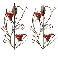 Set of 2 Red Delicate Tealight Candle Sconces