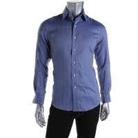 Tasso Elba Mens Textured Striped Button-Down Shirt