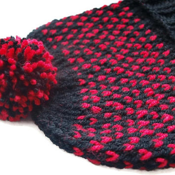 Fair isle beanie hat with pom pom / knit hat in black and red color / winter accessory / valentine's gift