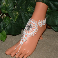 Crochet Ivory White Cross Barefoot Sandals, Wedding Bridal Accessories, Beach, Foot, Jewelry, Shoes