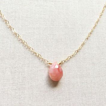 Pink Opal Gemstone Gold Filled Chain Necklace