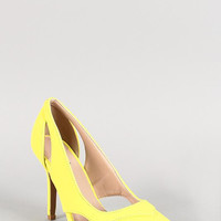 Qupid Neon Nubuck Cutout Pointy Toe Heel Color: Neon Yellow, Size: 5.5